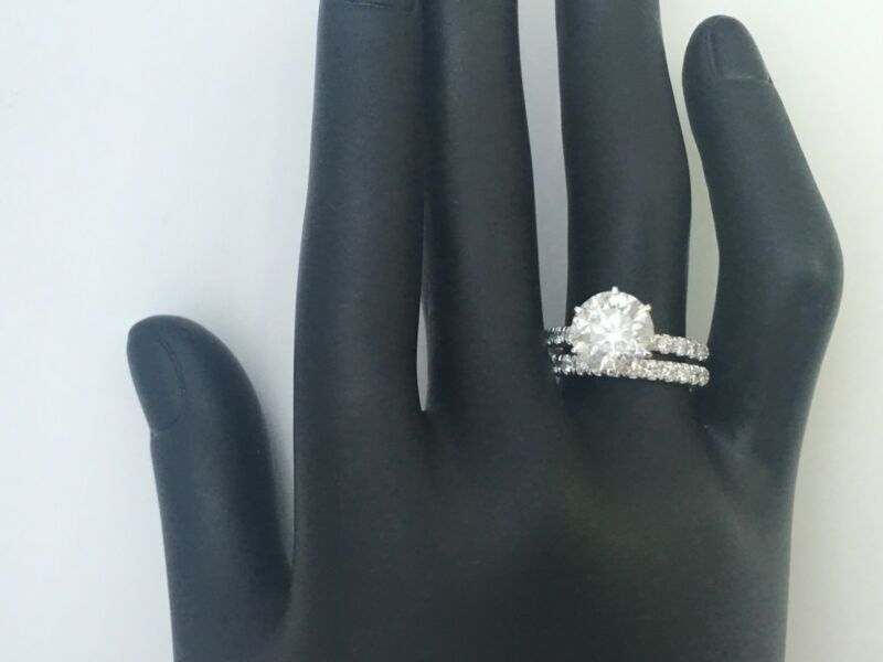 2.25 Ct Diamond Ring With Matching Band Set 6 Prong Natural 14 K White Gold Xmas