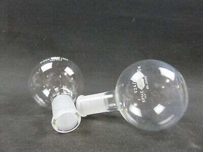 Lot Of 2 Kimble Kimax 2440 300ml Short Neck Round Bottom Boiling Flask 25285