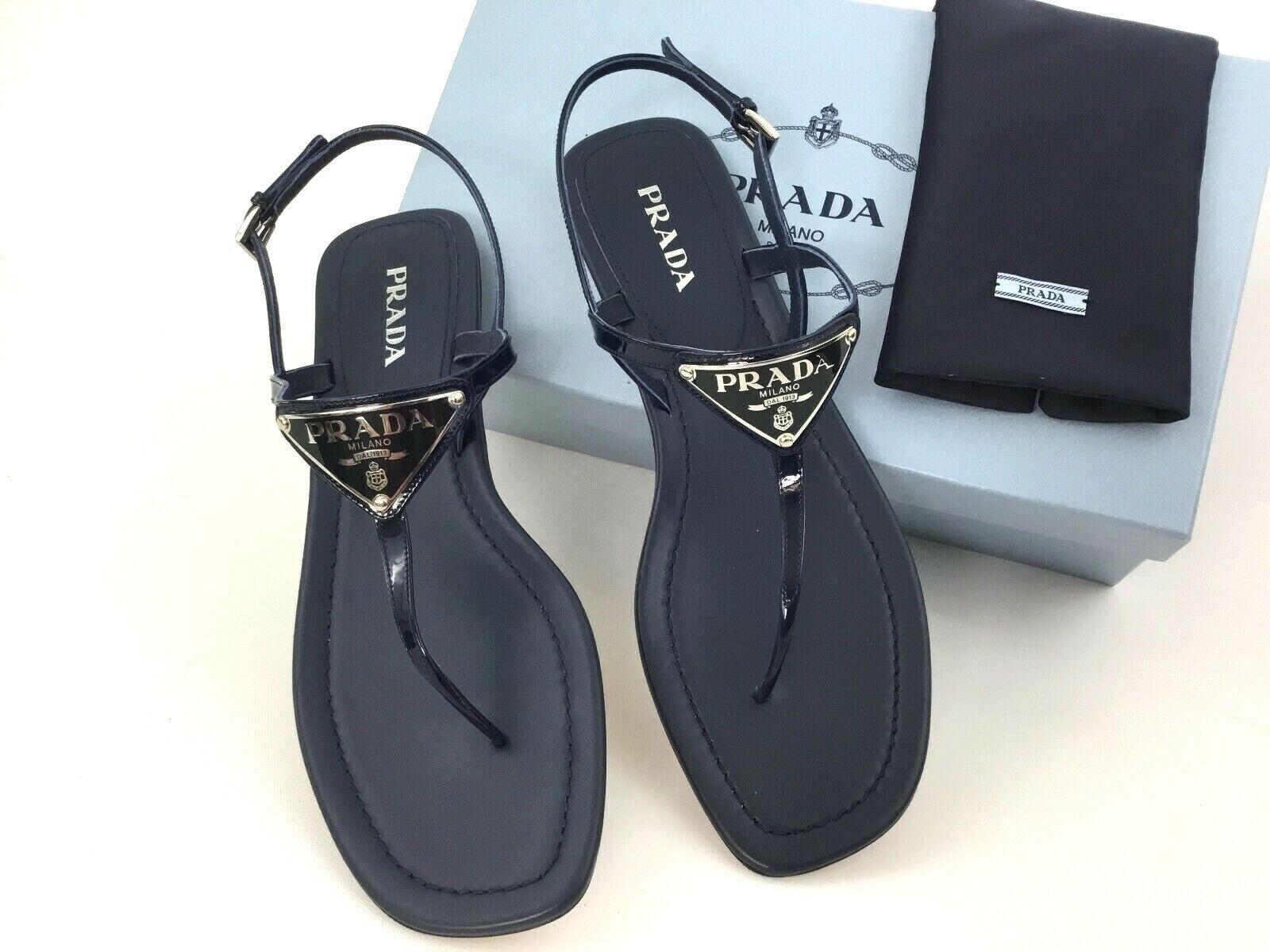 Sz415 PRADA Triangle Logo Plate Thong Sandal Blue Patent Leather Slide Shoes