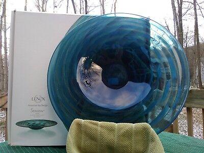 LENOX Seaview Swirl Non Lead Crystal Glass Platter w Box 18