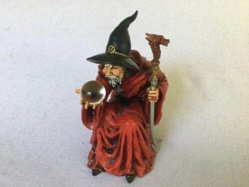 Mythical Magical Fantasy Wizard w Dragon Staff, Sculls & Crystal Ball Figurine