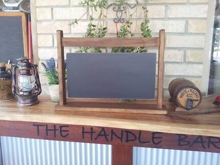 Hanging Sign Style Chalkboard and Timber Stand Restaurant Menu