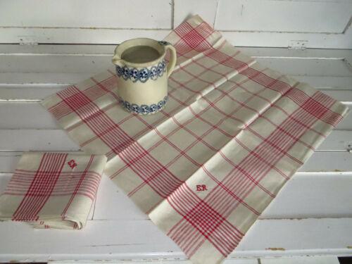 Towels Two     Linen Classic  Red Stripes  Towels Napkins German Vintage Mono ER