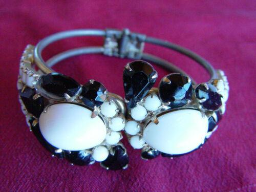 Vintage Milk Glass and Black Glass Cabochon Rhinestone Clamper HInged Bracelet