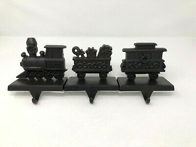 Set of 3 Bronze Tone Santa Train Christmas Stocking Holders