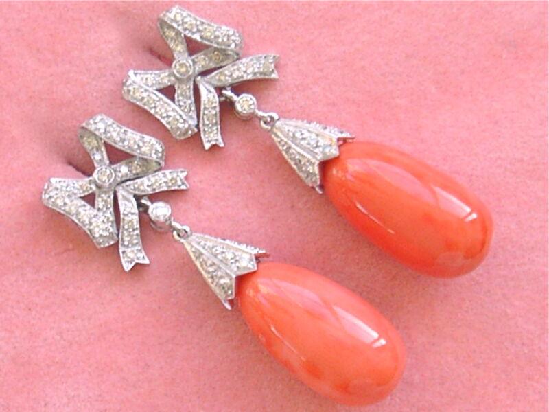 ESTATE .90ctw DIAMOND BOWS 21mm CORAL DROPS WHT 18K COCKTAIL STATEMENT EARRINGS