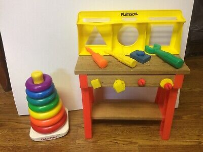 VINTAGE 1970'S PLAYSKOOL WORK BENCH AND FISHER PRICE ROCK A STACK  OLD TOYS