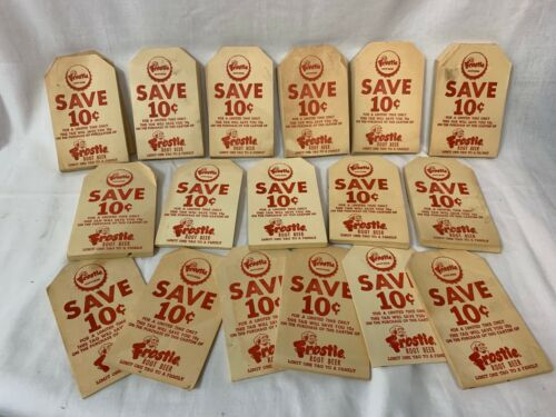 Lot of Over 1,000 Frostie Root Beer Bottle Tags: Complete Stacks of 100 & Loose