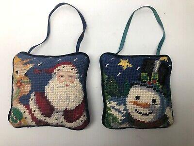 Small Needlepoint Christmas Pillows Santa Claus Snowman Door Hangers Vintage
