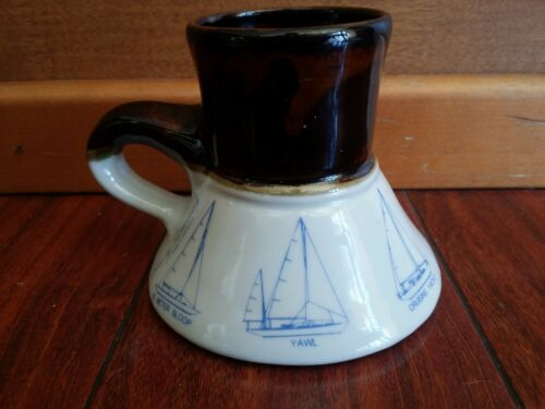 Vintage BEARLY SURVIVING NO SPILL COFFEE MUG NAUTICAL  YACHT SCHOONER SLOOP