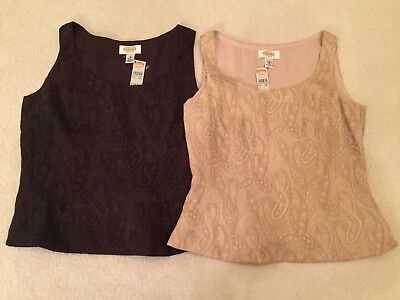 Paisley-scoop (Talbots Brocade Paisley Scoop Neck Lined Shell w Side Zip -  Sz 4P  NWT)
