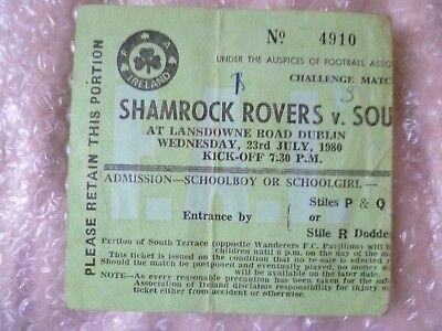 Ticket stub- 1980 Challenge Match SHAMROCK v SOUTHAMPTON, 23rd July