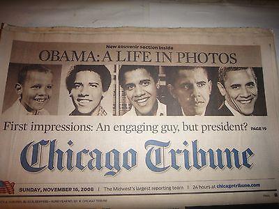 Chicago Tribune Newspaper November 16  2008  Obama  A Life In Photos
