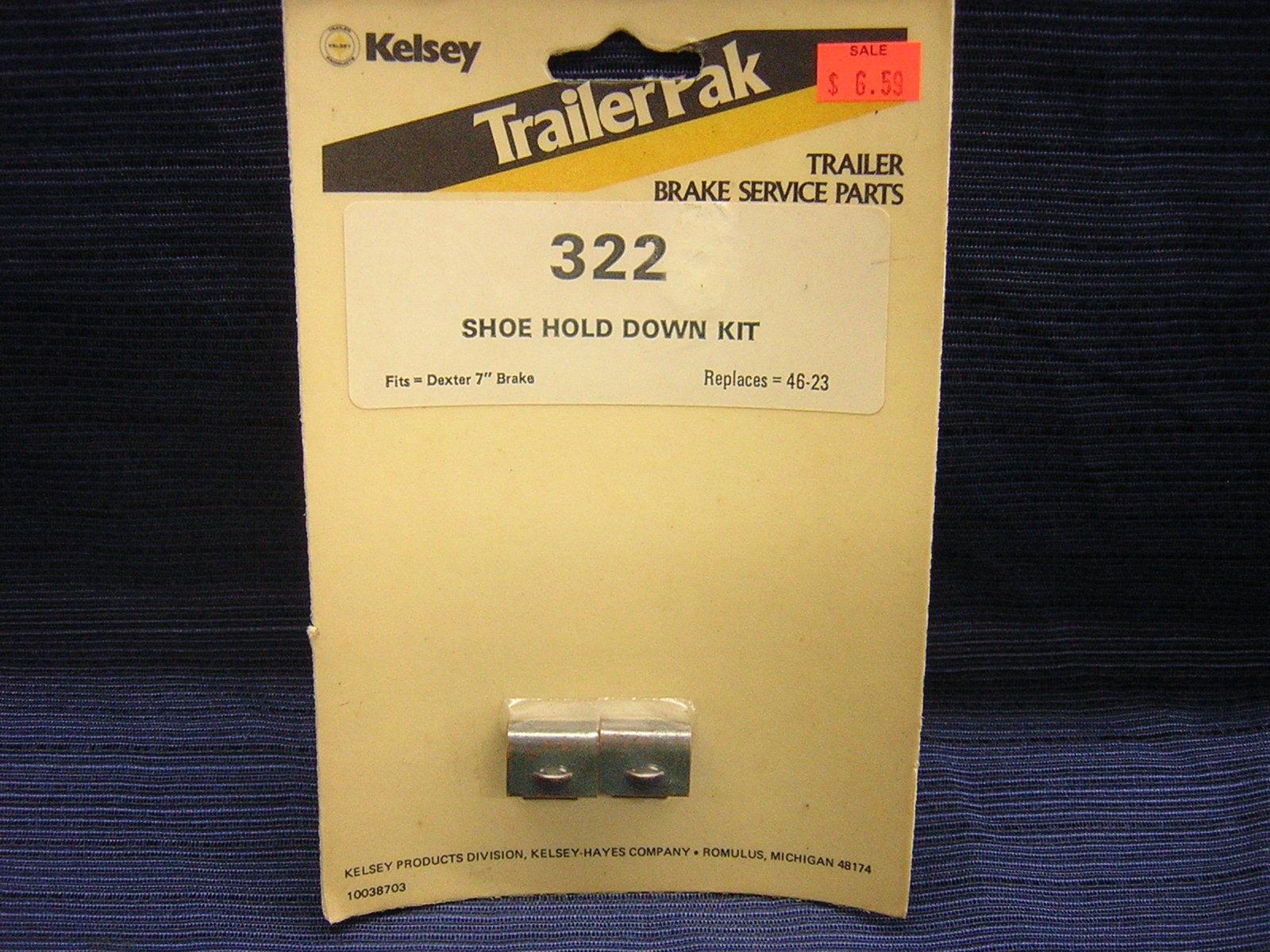 "KELSEY TRAILERPAK #322 SHOE HOLD DOWN KIT FOR DEXTER 7"" ELECTRIC BRAKES."