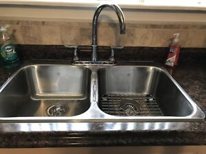 Double SS kitchen sink with faucet