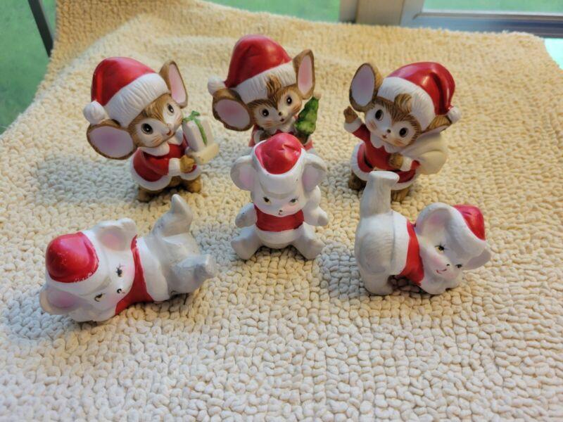 (6) Homco Vintage Christmas Santa Mice Ceramic Figurine Home Interiors 5405