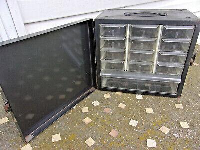 Vintage Akro-mils 13 Drawer Metal Organizer Storage Parts Cabinet With Door