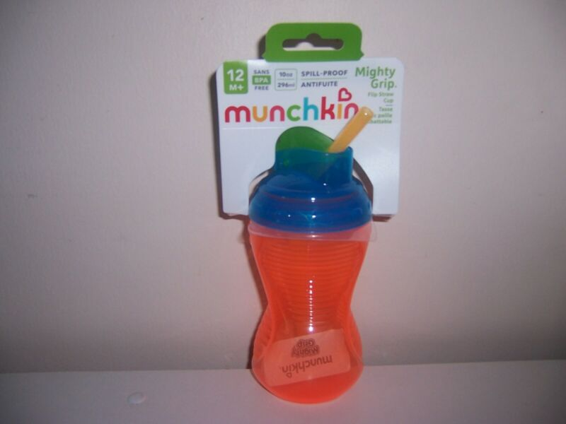 Munchkin  Mighty Grip spill Proof straw sippy cup  orange New