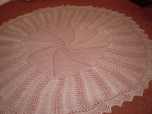 NEW Hand Knitted White Circular Baby Shawl  approx. 58