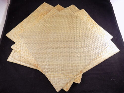 "8 Vintage WOVEN BAMBOO TABLE PLACE MATS w/ Hemmed Edges 14"" x 14"" Square"