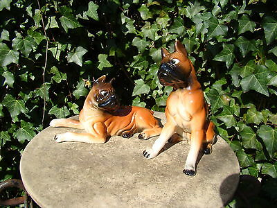 2 Vtg Ceramic Boxer Dogs Whimsical Expression Figures Playful Lg Dog Figurine Pr