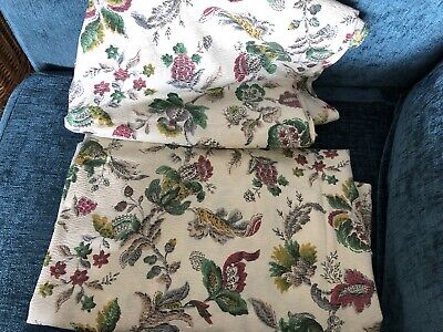 Vintage 1960/70s CURTAINS Floral PINK Green Cream Flower FABRIC 110cm 165cm Drop