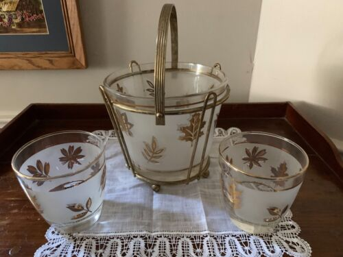 Vintage MCM Frosted Glass Gold Leaves Ice Bucket with Carrier and 2 Glasses