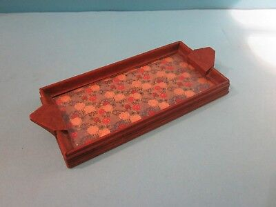 Vintage Small Wooden Tray with Glass Base. Good Used Condition.