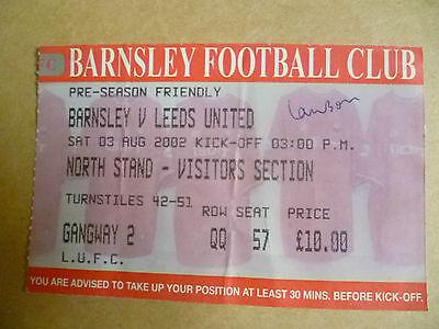 Ticket 2002 Pre Season Friendly Match- BARNSLEY v LEEDS UNITED, 3 August