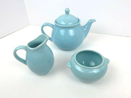 USA Pottery Tea Pot Set Sugar Creamer Vintage Blue