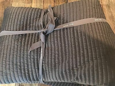 169 West Elm Reversible Channel Stitch King Coverlet Quilt Dark Light Gray Nwt