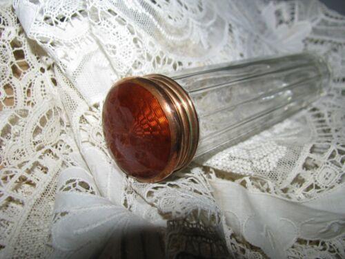 VTG CRYSTAL GLASS VANITY JAR GUILLOCHE ENAMEL S0LID COPPER LID STUNNING ANTIQUE