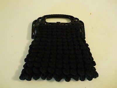 1930s Handbags and Purses Fashion 1930s Vintage Black Peacock Celluloid Handle Purse Crochet Art Nouveau Bird T6 $39.99 AT vintagedancer.com