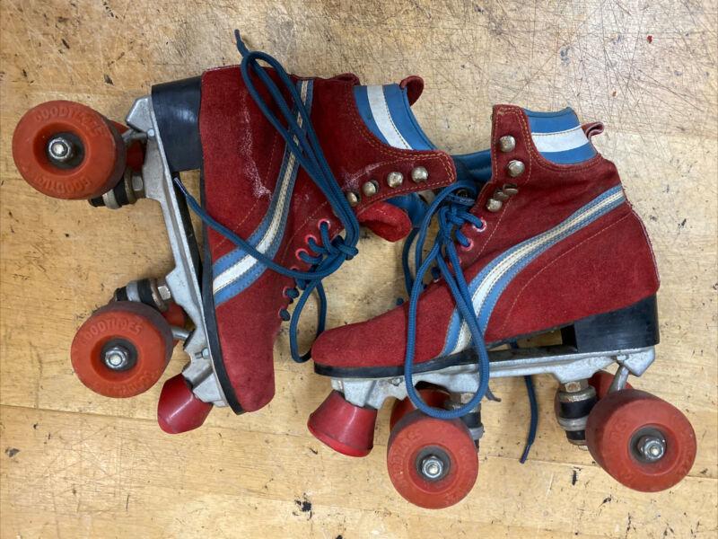"""Vintage RED """"high top"""" size 6 QUAD ROLLER SKATES"""