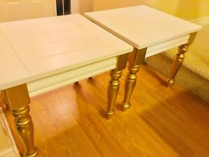 White & Gold Coffee Table and End Tables