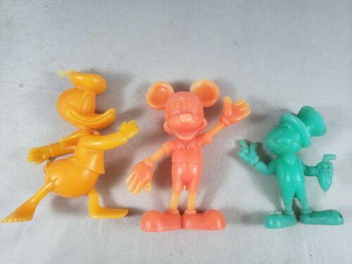Walt Disney 1971 Louis Marx Rubber Figures Lot Donald, Mickey, Jim Cricket Lot 3