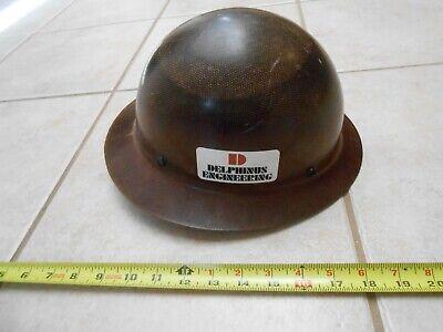 Vintage Rare Delphinus Fiberglass Hard Boiled Msa Skullguard Hard Hat Ironworker