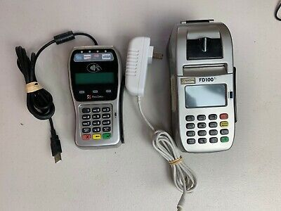 First Data Fd100ti And Fd-35 Pin Pad Credit Card Terminals W Ac Adapters