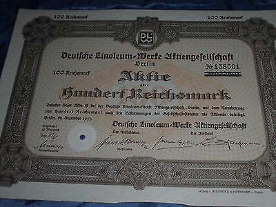 1088 :AKTIE / Wertpapier ,Deutsche Linoleum Werke , Berlin ,Dezember 1933  /8970
