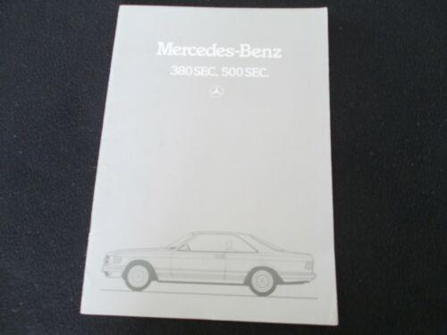 1983 1984 Mercedes Benz SEC GERMAN S-class Coupe Brochure 380SEC 500SEC Catalog