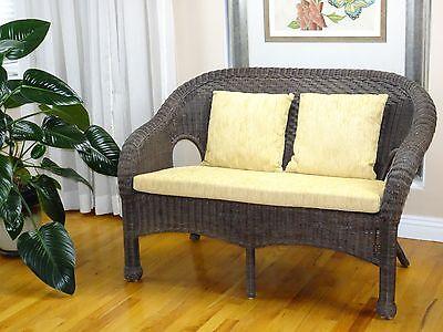 (Lounge Dark Brown Love seat Jasmin Handmade Rattan Wicker ONLY LOCAL PICKUP)