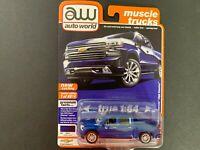 AUTOWORLD AWSP037 B 2019 CHEVY SILVERADO PICK UP TRUCK 1//64 DIECAST BLACK