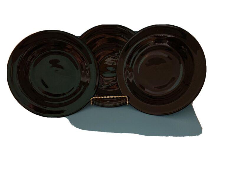 "3 Vintage Black Amethyst Art Glass 8""Round Luncheon Plates"