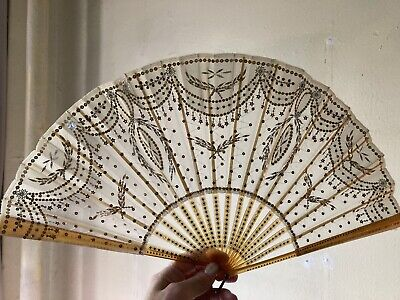 Antique French  Hand Fan Circa 1890/1900- Tulle & Gold Sequins With Original Box