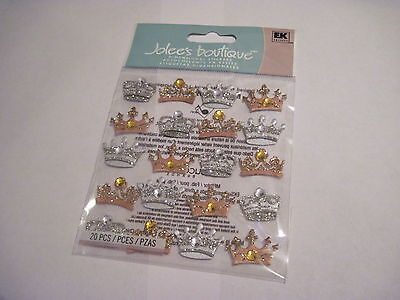 Crown Scrapbooking Stickers (Scrapbooking Crafts Jolee's Stickers Dimensional Crowns Repeats Gold Silver Gems )