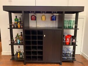 BAR CABINETS WITH WINE STORAGE BLACK BROWN WOOD