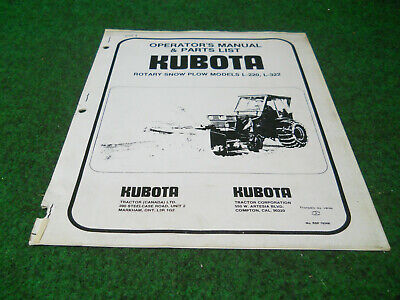 Kubota L220 L322 Rotary Snow Plow Blower Owners Manual Photo Coppy