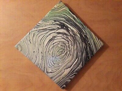 Abstract Wall Art Canvas acrylic pour glossy varnish tree ring green black white