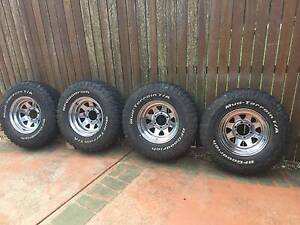 Set 4 BF Goodrich Mud - Terrain T/A Tyres and chrome steel rims Sippy Downs Maroochydore Area Preview