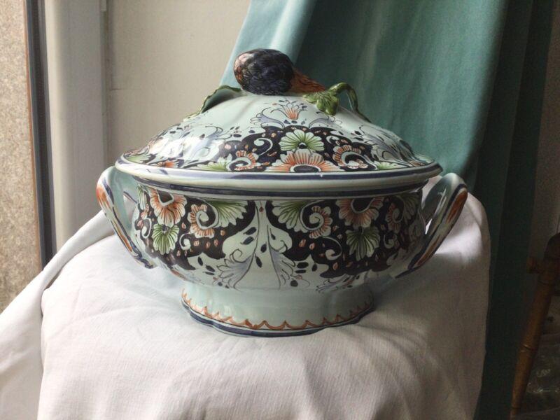 Antique French Rouen Faience Soup Tureen Celadon Tin Glazed Artichoke Hand Paint